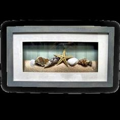 shell, wall decor, shadowbox, beach stuff, shadow box, bathroom ideas, beach vacations, beach bathrooms, beach rooms