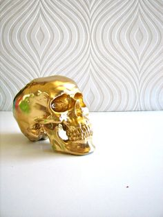 Skull Head in gold Goldie by mahzerandvee on Etsy