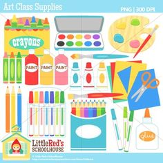 Clip Art: Art Classroom Supplies - Classroom theme clipart $