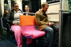 more yarn bomb in a philly subway yarn bombing, bus, seat, yarnbomb