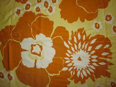 Vintage TAMPELLA Finland Ritva Kronlund Mod Floral Curtain Fabric Panel x 2