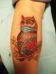 Traditional Owl Tattoo by StarvingArtist513.deviantart.com