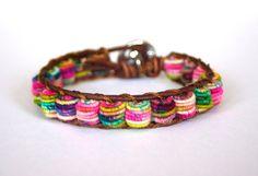 Boho Leather Bracelet, Shabby Chic, Fabric Textile Beads