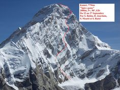 Wow. Now that is a route. The mountain is Kamet (25,446 feet; 7,756m) and the face pictured here is 6,500 feet (2,000m) high—twice as tall as Yosemite's El Capitan.