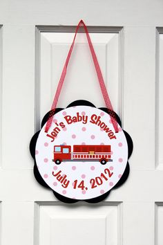 Firetruck Themed Baby Shower Party Sign Door Hanger - Firetruck Baby Shower Decorations in Red and Black. $9.00, via Etsy.