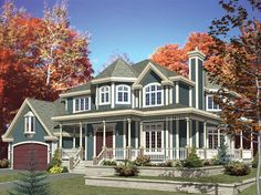 Imagine the views possible from the numerous windows that line the perimeter of this unique colonial's second level, or perhaps you'd prefer to appreciate the scenery from the wrap-around covered porch. 4 Bedroom, 2 1/2 Bath, 2846 Living Sq. Feet. House Plan # 571080