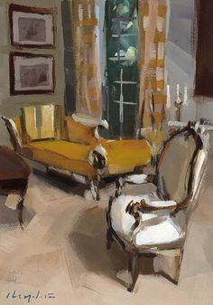 Living Room Chair, Antique Chair Chaise - Yellow by David Lloyd