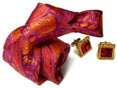 Custom Bespoke Silk Necktie-Violet, Purple, Rust Paisley   NELSON WADE Store $350