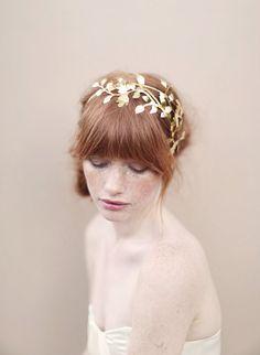 Bridal headband fern leaves headpiece