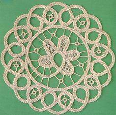 Fiber Art Reflections: Romanian Point Lace Crochet mat using a wide flat crocheted cord (tape).