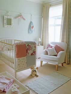 #nurserytrend> how sweet, shabby chic and adorable.. just love the chair over a glider... versatile for nursery and big-girl room