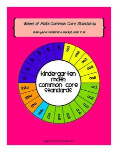 This fun wheel of standards includes all 22 Common Core math standards for Kindergarten. Display the colorful copy in your classroom and provide each student a copy of the blackline master to keep in their math notebook. When students have mastered a concept have them color in the appropriate piece of the wheel. This will help encourage kids to be accountable for their own learning and keep them motivated to master every concept!