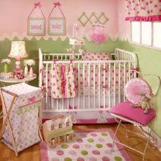 My Baby Sam Garden Party 4 Piece Crib Bedding Set, Pink/Green