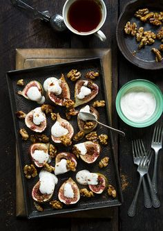Baked Figs With Rosewater Honeyed Yoghurt & Candied Walnuts