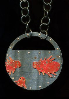 "Judith Hoyt: Spider Mite, Necklace in found metals, copper, and stainless steel. Pendant is 2.5"" in diameter. Chain is 24"" in length."
