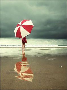 umbrellas and rainy days at the beach