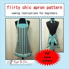 BEGINNER SEWING Apron Pattern PDF Woman's Full Apron Tutorial - Flirty Chic Apron Sewing Pattern