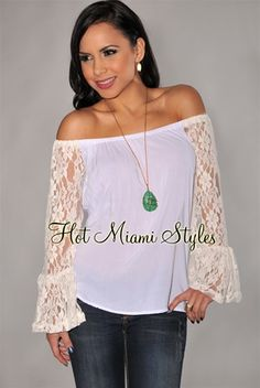 Ivory Off-The-Shoulder Lace Sleeves Top $36.99