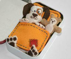 Altoid Tin Dog Felt Toy Plush with Teddy Bear, Blanket, Mattress and Pillow - Spotty Patch Cream - Mint Tin Pocket Toy