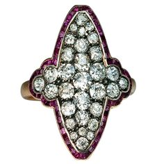 Antique Russian Calibre Cut Ruby Diamond Ring | From a unique collection of vintage cluster rings at http://www.1stdibs.com