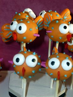 Orange Puffer Fish Cake Pops