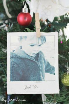 City Farmhouse-25 Days of Christmas-Winter Photos {holiday ornaments} - (polaroid frame on Pic Monkey)