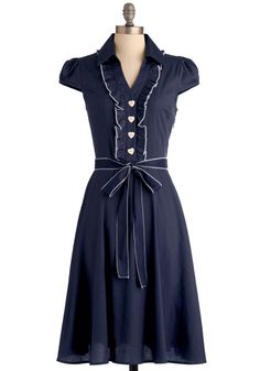 About the Artist Dress in Navy - Long, Blue, Solid, Buttons, Ruffles, Shirt Dress, Cap Sleeves, White, Work, Vintage Inspired, 60s