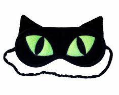 Neon Sleep Mask  Black Cat with Big Green Eyes