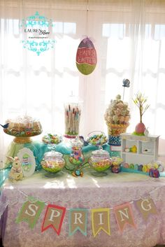 burlap, buffets, flag, easter tabl, candi, buntings, easter parti, easter party, banners