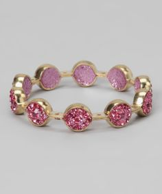 Pink & Gold Crystal Marquis Bangle