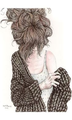 sketch, winter style, art, ink drawings, bed head, cozy sweaters, yarn, chunky knits, fashion illustrations