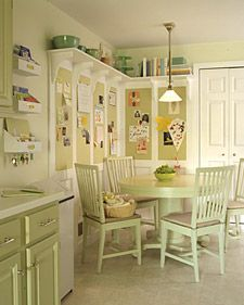 Create more space in your kitchen with these clever tips and tricks. I like the shelf up high