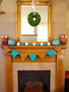 holiday, fall decor, fall garland, turquoise, chevron pumpkin, fall mantels, autumn, turquois fall, diy
