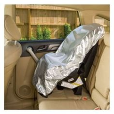 100 degrees inside your car? With this powerfully cooling sun shade, you can keep your child's car seat cool! The heat-deflecting cover lowers temperatures. Folds flat and loops closed for compact storage. Imported. $6.85
