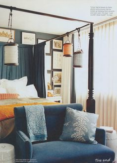 navy orange bedroom via Domino