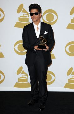 Bruno Mars sports Z Zegna backstage at the 53rd Annual GRAMMY Awards in 2011