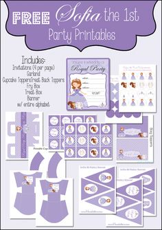 FREE Sofia the First Printable Party Set from Homeketeers. #Printables #Free