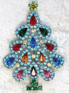 MULTI RHINESTONE CRYSTAL CHRISTMAS TREE PIN BROOCH D245 | eBay