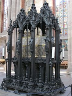 16th Century Gothic bronze monument for St. Sebaldus, made by the sculptor Peter Vischer and his sons (1508-19), surrounds the 14th Century silver reliquary casket in the Church of St Sebaldus, Nuremburg
