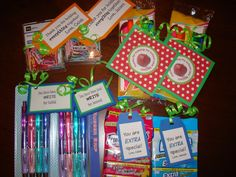 "Teacher gifts- Pack of pens:You have been just ""write"". Extra Gum:You are ""Extra"" special. Highlighters: Thank you for making my school year BRIGHT! Paper clips:Thank you for holding everything together."