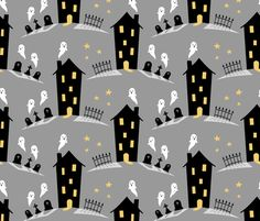 Haunted house fabric by petitspixels on Spoonflower - custom fabric