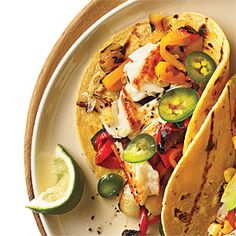 Sautéed Tilapia Tacos with Grilled Peppers and Onion | CookingLight.com
