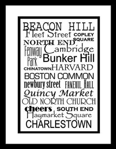 Subway Sign Art Boston Destination Typography Print by PaperBleu