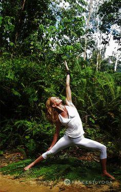beautiful yoga reverse warrior in the woods, pose asana, yoga photography, yoga photo