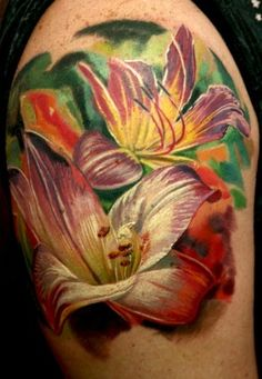 tattoo idea, white flowers, color, tattoo artists, tattoo design, flower tattoos, tattoo ink, lili tattoo, lili flower