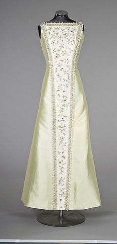 Pierre Balmain couture from 1960s, pale green gazar ball gown with crystal jewelled embroidered panel, labelled and numbered 136 76 2, with matching jewelled stole.