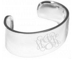Monogrammed German Silver Cuff Bracelet