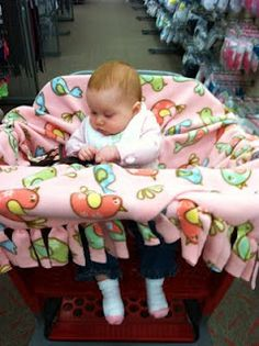 Taking a Dollar Store Fleece Blanket or recycling an existing fleece blanket you can Easily make this NO SEW Baby Shopping Cart Cover! :-)