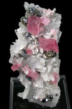 Rhodochrosite, Quartz, Pyrite, Galena from Colorado