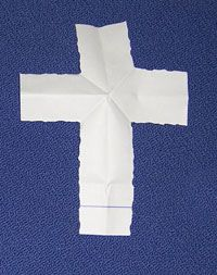 "Pinner says: I just used this ""magic trick"" to bring my kids into Lent.  Talk about Lent as you do the folds.  The part torn off is the bad things we get rid of during Lent.  Throw it away.  What is left is our ticket into Heaven- as we open our folded paper and find it has turned into a cross. Worth a try!"